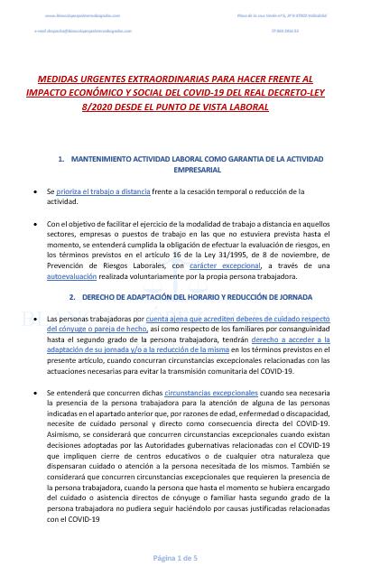 (ERTE)MEDIDAS DESDE EL PUNTO DE VISTA LABORAL PARA HACER FRENTE AL COVID-19 RD-LEY  8/2020